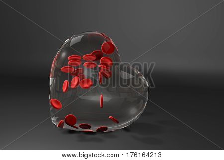 National Blood Donor. Glass heart with blood cells, 3d Illustration