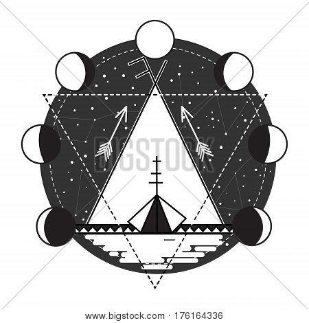 Wigwam tribal abstract tattoo design vector illustration. Stars in night sky