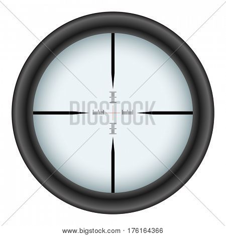 Rifle scope crosshair isolated on white background. Raster copy.