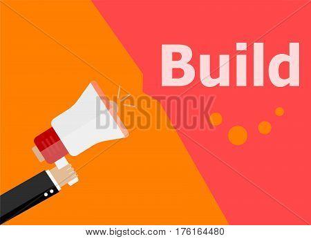 Flat Design Business Concept. Build. Digital Marketing Business Man Holding Megaphone For Website An