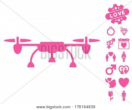 Drone icon with bonus dating design elements. Vector illustration style is flat iconic pink symbols on white background.