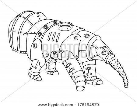 Steam punk style anteater. Mechanical animal. Coloring book vector illustration.