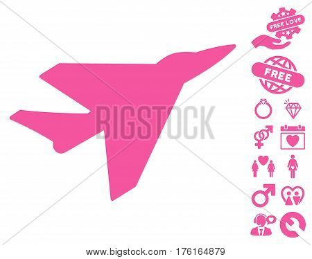 Intercepter icon with bonus dating pictures. Vector illustration style is flat iconic pink symbols on white background.