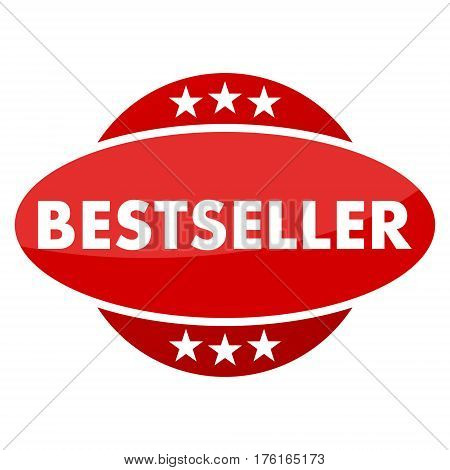 Red button with stars bestseller on white background