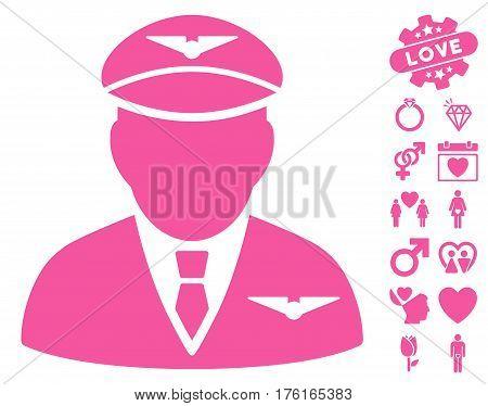 Pilot icon with bonus dating symbols. Vector illustration style is flat iconic pink symbols on white background.