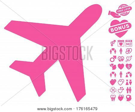 Plane pictograph with bonus dating pictures. Vector illustration style is flat iconic pink symbols on white background.