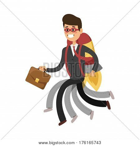 Superhero business man vector. Super people in business illustration. Super hero business situations, super hero office life. Superhero running business success people. Team leader, boss, hero