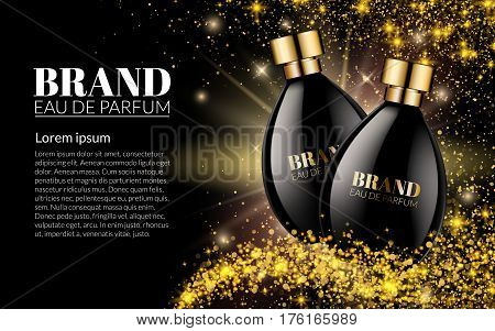 Beautiful Black Bottle Womens Perfume Products With on golden glitter star dust Blurred Light Bokeh Background. Aroma Liquid. Cosmetic Fragrance. Template on your text. 3d Vector Illustration.