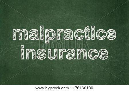 Insurance concept: text Malpractice Insurance on Green chalkboard background