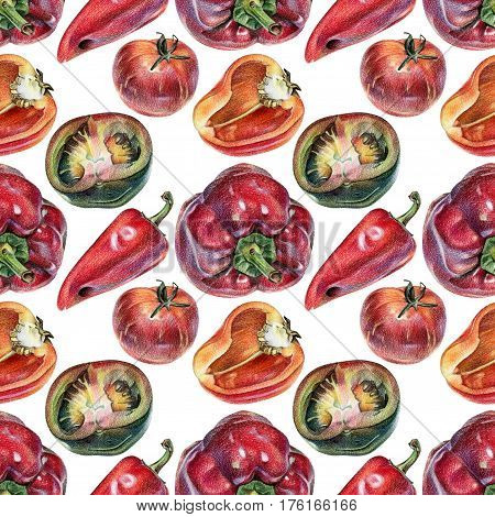 Seamless pattern with vegetables drawn by hand with colored pencil. Healthy vegan food. Fresh raw foodstuffs painted from nature
