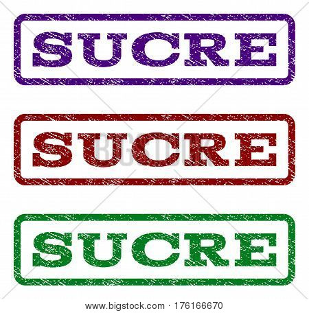 Sucre watermark stamp. Text caption inside rounded rectangle with grunge design style. Vector variants are indigo blue, red, green ink colors. Rubber seal stamp with dust texture.