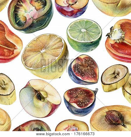 Seamless pattern with cut fruits berries and vegetables drawn by hand with colored pencil. Healthy vegan food. Fresh raw foodstuffs painted from nature