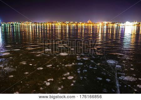 Iced Lake At Night City