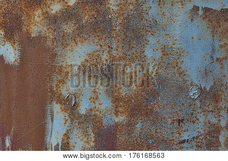 Texture painted blue with brown metal corrosion old ground