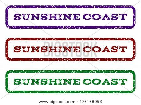 Sunshine Coast watermark stamp. Text tag inside rounded rectangle frame with grunge design style. Vector variants are indigo blue, red, green ink colors. Rubber seal stamp with dirty texture.