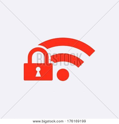 lock wifi icon stock vector illustration flat design