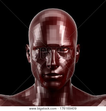 3D rendering. Faceted red robot face with red eyes looking front on camera.. Isolated on black background