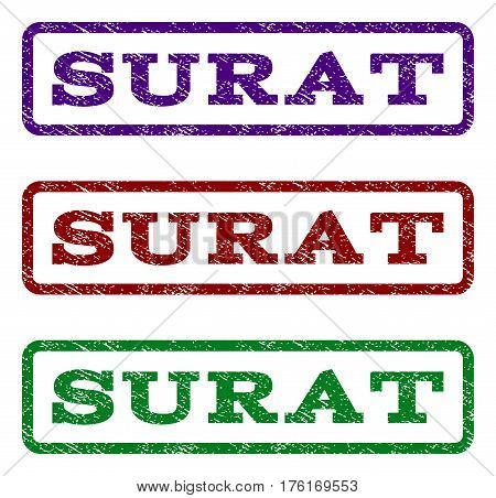 Surat watermark stamp. Text caption inside rounded rectangle frame with grunge design style. Vector variants are indigo blue, red, green ink colors. Rubber seal stamp with dirty texture.