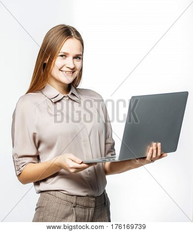 woman administrator with laptop on white background.the photo has a empty space for your text.