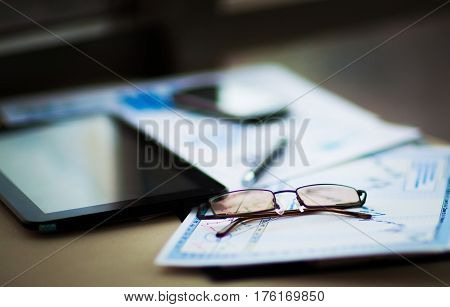 Business of financial analysis of workplace.documents for the workplace of the businessman