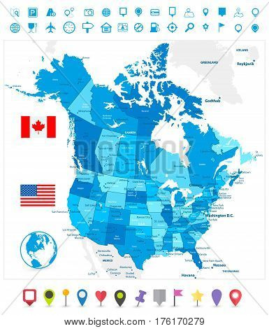 USA and Canada large detailed political map in colors of blue and map pointers