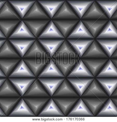 Creative abstract seamless vector pattern with concentric triangle shapes forming whirling sequences in grey and bluish hues
