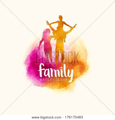 watercolour style family Parents having fun with their child. vector illustration