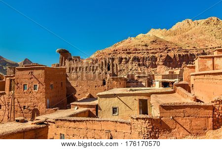 Traditional Kasbah houses in Bou Tharar village - Morocco, the Valley of Roses