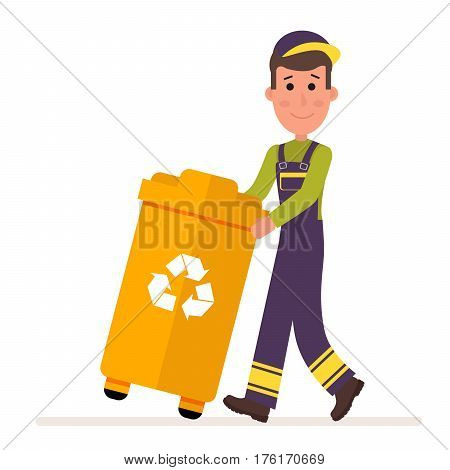 Garbage collection service. Man in a uniform takes out a container with garbage. Flat character isolated on white background. Vector, illustration EPS10