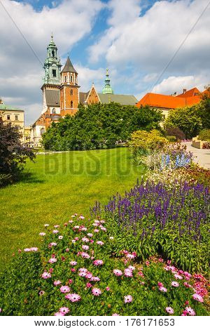 Spring Garden At Royal Wawel Castle In Krakow With Cathedral In The Background, Poland, Europe