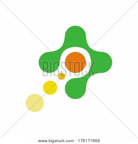 Flying the atom, the comet in the centre of the green cross abstract vector logo