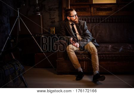 Portrait Of Handsome Adult Man Sending A Text Message,business Man Reading Messages,stylish Brunette