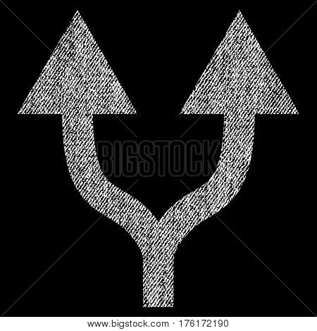 Split Arrows Up vector textured icon for overlay watermark stamps. Fabric white vectorized texture. Symbol with unclean design. Rubber seal stamp with fiber textile structure.