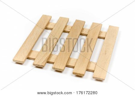 Wooden Slats Background Isolated Over White