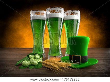 St Patrick's Day concept, green beer, hat - 3D render
