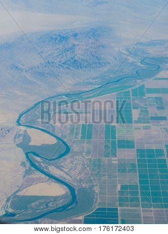 Aerial of the border between California and arizona