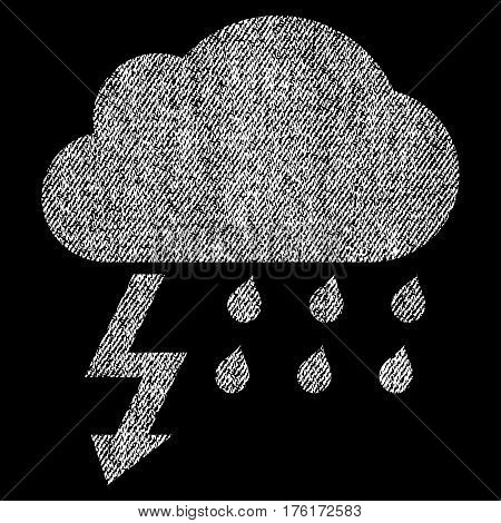 Thunderstorm vector textured icon for overlay watermark stamps. Fabric white vectorized texture. Symbol with dirty design. Rubber seal stamp with fiber textile structure.