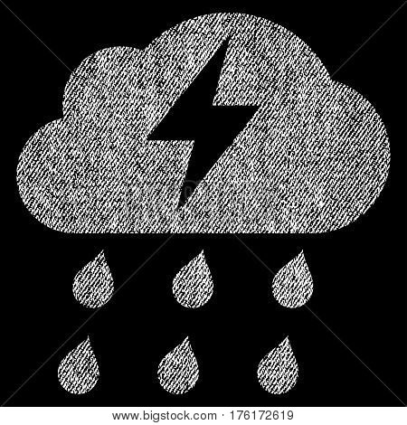 Thunderstorm vector textured icon for overlay watermark stamps. Fabric white vectorized texture. Symbol with scratched design. Rubber seal stamp with fiber textile structure.
