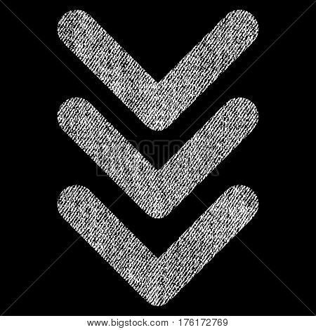 Triple Arrowhead Down vector textured icon for overlay watermark stamps. Fabric white vectorized texture. Symbol with dust design. Rubber seal stamp with fiber textile structure.