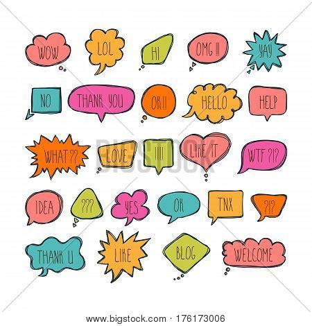 Big Set Of Comic Bubbles With Short Messages. Hand Drawn Colored Speech Bubbles With Dialog Words