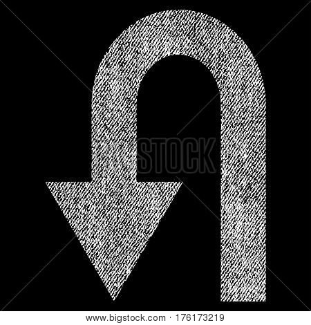 Turn Back vector textured icon for overlay watermark stamps. Fabric white vectorized texture. Symbol with dust design. Rubber seal stamp with fiber textile structure.
