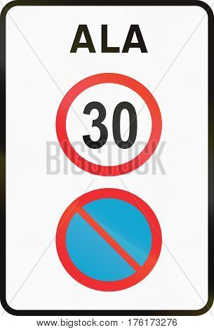 Road Sign Used In Estonia - No Parking And Speed Limit Zone. Ala Means Zone