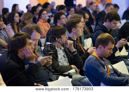 Moscow, Russia - March 3, 2017: People attend Inspace Forum 2017 in Tekhnopolis congress hall