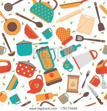 Seamless Pattern With Kitchen Tools. Cooking Utensils Background