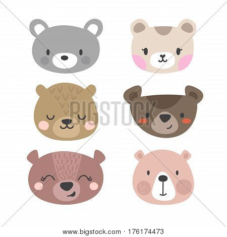 Set Of Cute Bears. Funny Doodle Animals. Little Bear In Cartoon Style