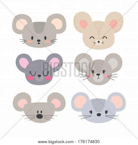 Set Of Cute Mouses. Funny Doodle Animals. Little Mouse In Cartoon Style