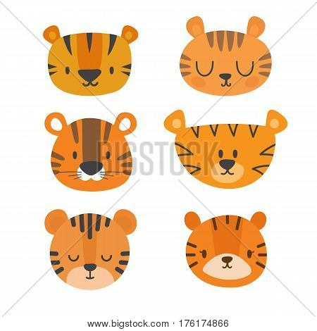 Set Of Cute Tigers. Funny Doodle Animals. Little Tiger In Cartoon Style