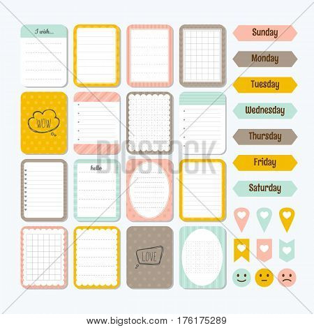 Template For Notebooks. Cute Design Elements. Collection Of Various Note Papers. Flat Style. Notes,
