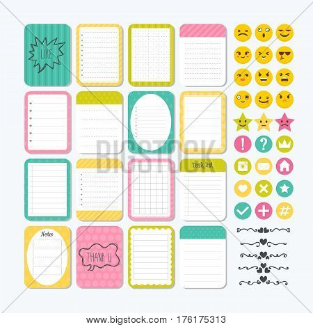 Template For Notebooks. Cute Design Elements. Notes, Labels, Stickers, Smile Emoji. Flat Style. Coll