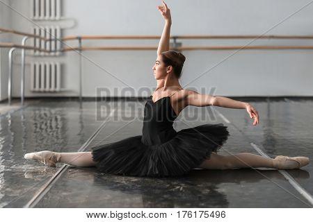 Female ballet dancer posin on rehearsal